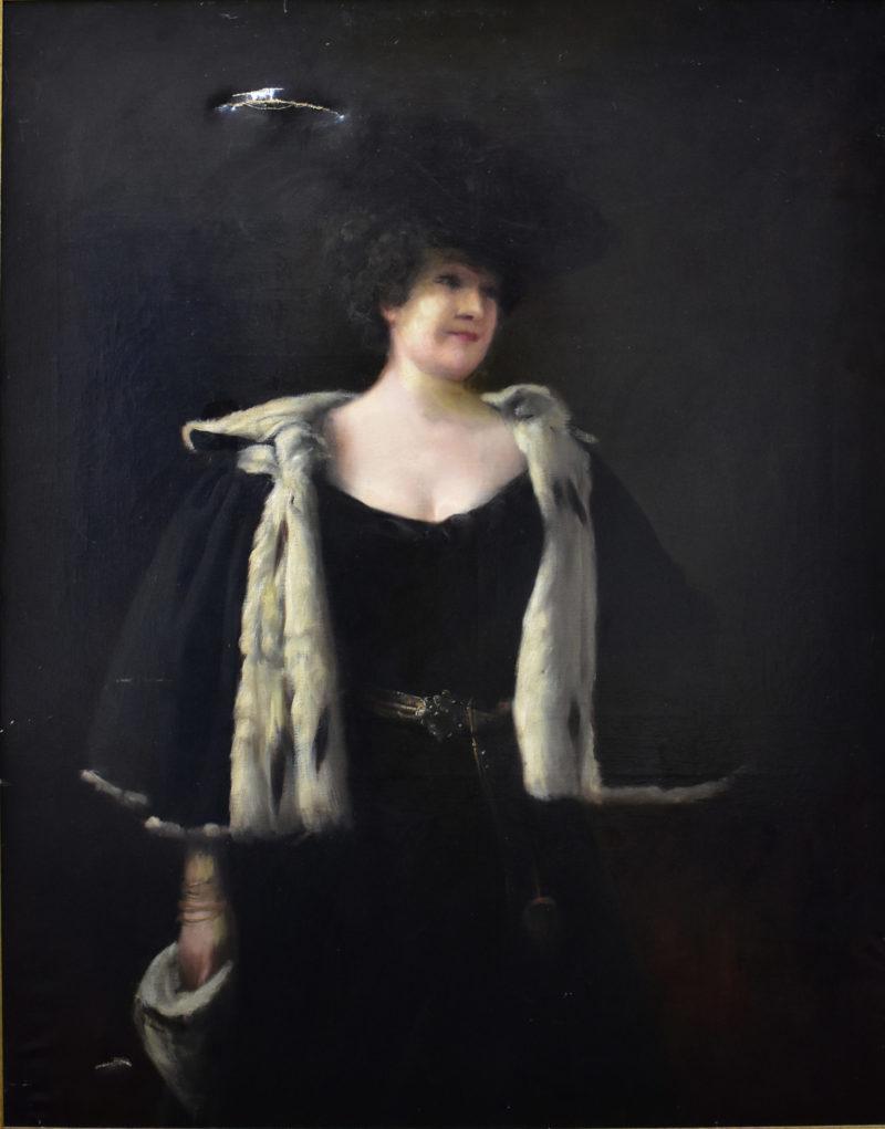 Portrait de femme au manchon d'hermine avant restauration